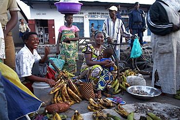 Women selling bananas at the market in Kisangani, Democratic Republic of Congo, Africa