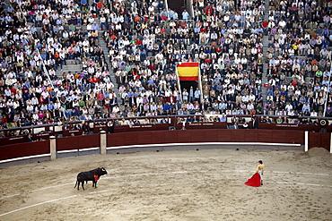 A bullfight takes place in Las Ventas, Madrid, Spain, Europe