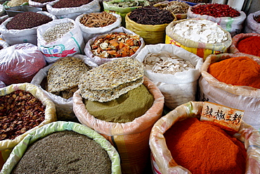 Spices and dried foods on sale in Wuhan, Hubei province, China, Asia