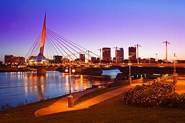 Esplanade Riel Bridge over the Red River, Winnipeg, Manitoba, Canada, North America