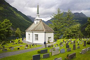 Geiranger village church, Geiranger, Geirangerfjord, Northern Fjord Region, Norway, Scandinavia, Europe