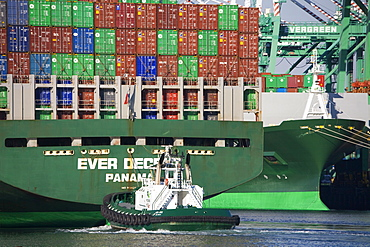 Tugboat and container ship, San Pedro Port, Los Angeles, California, United States of America, North America