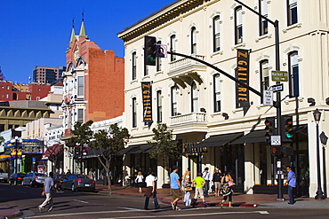 Stores on Fifth Avenue in the Gaslamp Quarter, San Diego, California, United States of America, North America