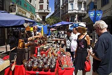 Selling Mate cups on Sarandi Street in the Old City District, Montevideo, Uruguay, South America