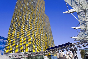 Monorail and Veer Towers at CityCenter, Las Vegas, Nevada, United States of America, North America