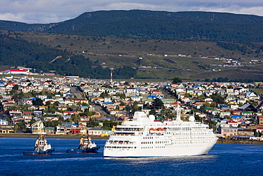 Cruise ship in Punta Arenas Port, Magallanes Province, Patagonia, Chile, South America