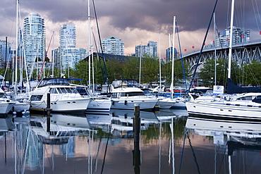 Broker's Bay Marina and Granville Street Bridge, False Creek, Vancouver, British Columbia, Canada, North America