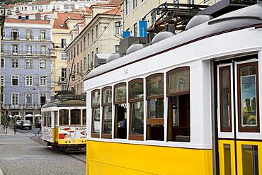 Tram in Praca Da Figueira, Rossio District, Lisbon, Portugal, Europe