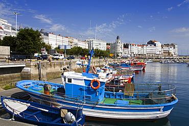 Fishing boats in Darsena Marina, La Coruna City, Galicia, Spain, Europe