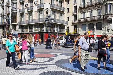 Tile Mosaic by Joan Miro on Las Ramblas, Barcelona, Catalonia, Spain, Europe