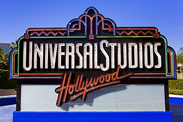 Universal Studios sign at Universal Studios Hollywood in Los Angeles, California, United States of America, North America