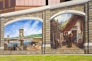 Roebling mural by Robert Dafford on the Ohio River levee, Covington, Kentucky, United States of America, North America