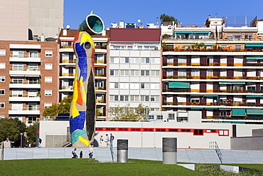 Dona i Ocell (Woman and Bird) sculpture in Joan Miro Park, L'Eixample District, Barcelona, Catalonia, Spain, Europe