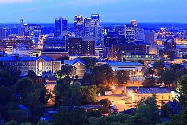 Birmingham skyline at twilight, Birmingham, Alabama, United States of America, North America