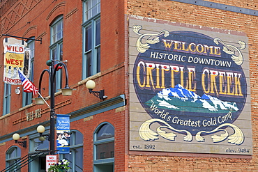 Downtown mural, Cripple Creek, Colorado, United States of America, North America
