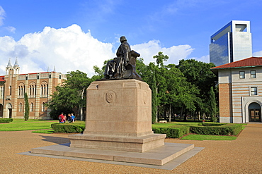 William Marsh Rice statue in Rice University, Uptown District, Houston, Texas, United States of America, North America