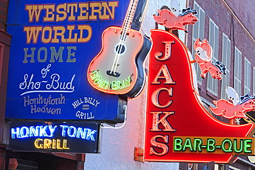 Neon signs on Broadway Street, Nashville, Tennessee, United States of America, North America