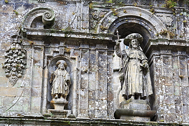 Detail on Cathedral wall in Plaza Quintana, Santiago de Compostela, UNESCO World Heritage Site, Galicia, Spain, Europe