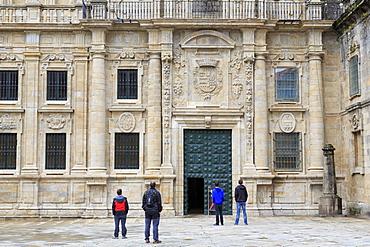Cathedral entrance on Plaza Quintana, Santiago de Compostela, UNESCO World Heritage Site, Galicia, Spain, Europe