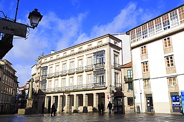 Pescaderia Vella Plaza in Old Town, Santiago de Compostela, Galicia, Spain, Europe