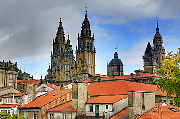 Cathedral spires in Old Town, Santiago de Compostela, UNESCO World Heritage Site, Galicia, Spain, Europe