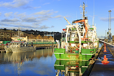 Trawler on the River Lee South channel, Cork City, County Cork, Munster, Republic of Ireland, Europe