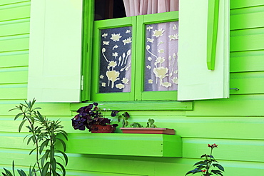Cottage window in Roseau, Dominica, Windward Islands, West Indies, Caribbean, Central America