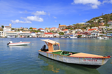 Fishing boats in The Carenage, St. Georges, Grenada, Windward Islands, West Indies, Caribbean, Central America