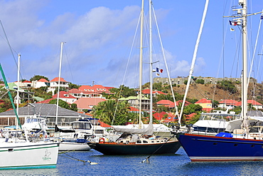 Boats in Gustavia Harbor, St. Barthelemy (St. Barts), Leeward Islands, West Indies, Caribbean, Central America
