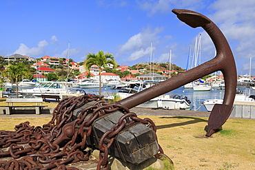 Anchor in Gustavia Harbor, Gustavia, St. Barthelemy (St. Barts), Leeward Islands, West Indies, Caribbean, Central America