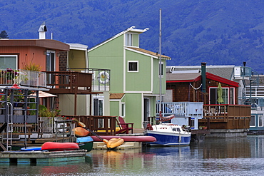 Houseboats in Sausalito, Marin County, California, United States of America, North America