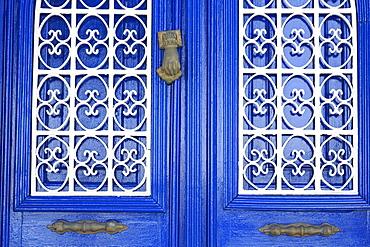 Blue door in Bodrum, Turkey, Anatolia, Asia Minor, Eurasia