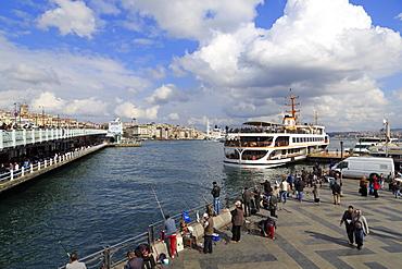 Fishing near the Galata Bridge, Istanbul, Turkey, Europe