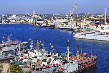 Black Sea Fleet in South Harbour, Sevastopol, Crimea, Ukraine, Europe