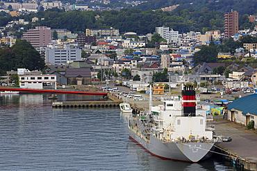 Cargo ship, Otaru Port, Hokkaido Prefecture, Japan, Asia