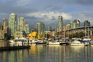 Granville Island, Vancouver and skyline, Vancouver, British Columbia, Canada, North America