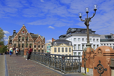 St. Michael's Bridge, Leie River, Ghent, East Flanders, Belgium, Europe