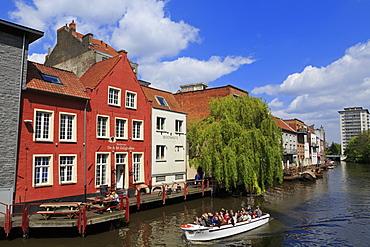 Restaurant on Leie River, Ghent, East Flanders, Belgium, Europe
