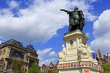 Jacob Van Artevelde Monument, Vrijdag Market, Ghent, East Flanders, Belgium, Europe