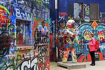 Legal graffiti on Werregaren Street, Ghent, East Flanders, Belgium, Europe