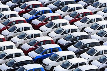 New cars, Port of Zeebrugge, Blankenberge, Flanders, Belgium, Europe