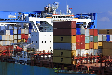 Container ship, Boston, Massachusettes, New England, United States of America, North America