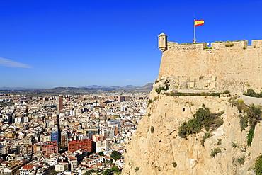 Santa Barbara Castle and city, Alicante, Spain, Europe