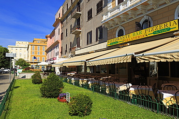 Restaurants on Garibaldi Street, Civitavecchia Port, Lazio, Italy, Europe