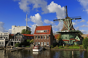 Windmill in Zaandijk Village, North Holland, Netherlands, Europe