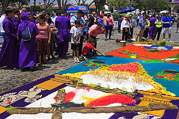 Alfrombras for Holy Week, Antigua City, Guatemala, Central America