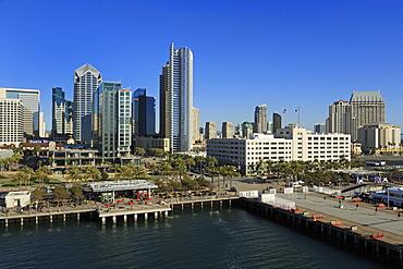 Skyscrapers on Harbor Drive, San Diego, California, United States of America, North America