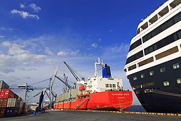 Cargo Ship, Corinto Port, Chinandega Province, Nicaragua, Central America