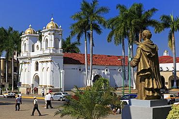 San Agustin Church and Hidalgo statue, Main Square, Tapachula City, State of Chiapas, Mexico, North America