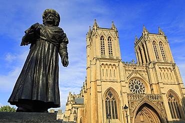 Rajah Rammohun Roy and Bristol Cathedral, Bristol, England, United Kingdom, Europe